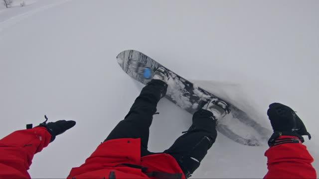 Backcountry snowboarding, doing powder turns