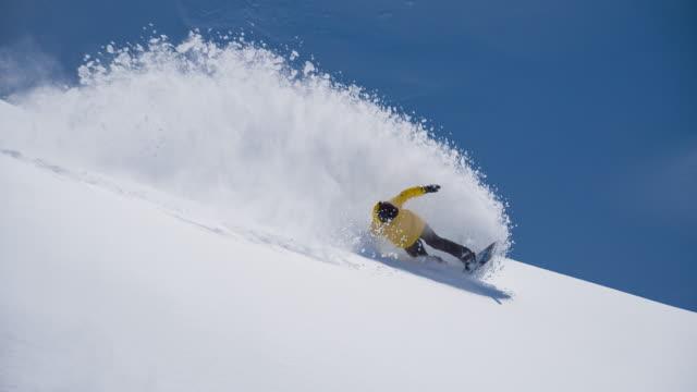 backcountry snowboarding powder turn - powder snow stock videos & royalty-free footage