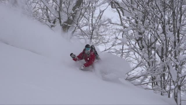 vídeos y material grabado en eventos de stock de backcountry snowboarding - accesorio de cabeza