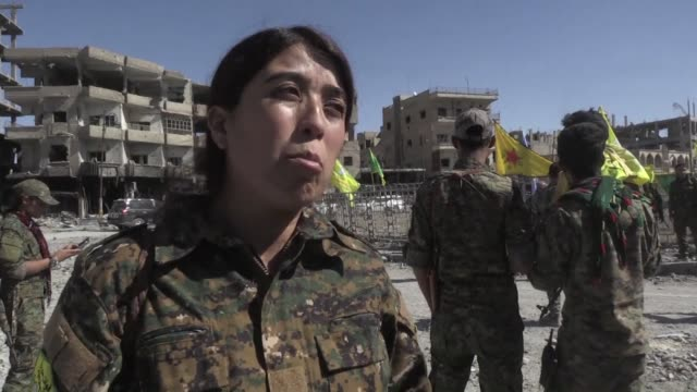 us backed forces took full control of raqa from the islamic state group on tuesday defeating the last jihadist holdouts in the de facto syrian... - syrian democratic forces stock videos & royalty-free footage