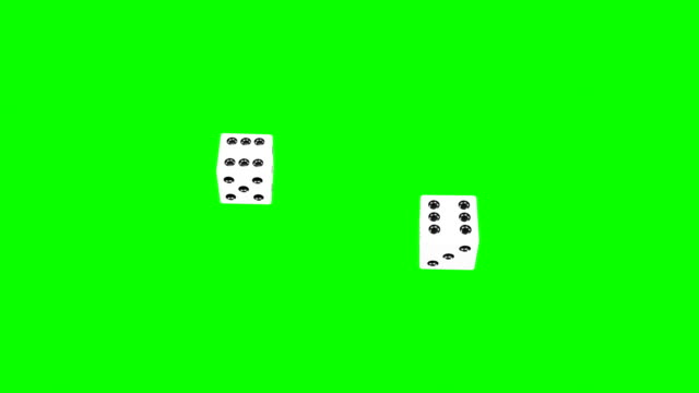 backgammon dices two sixes (green screen no shadows) - dice stock videos & royalty-free footage