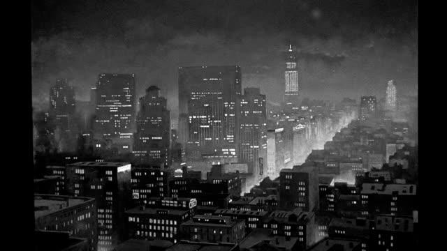 vídeos y material grabado en eventos de stock de background art matte painting city skyline at night background art city skyline at night on january 01 1940 - mate técnica de vídeo