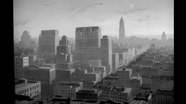 background art, matte painting - city skyline in day background art - city skyline in day on january 01, 1940 - matte image technique stock videos & royalty-free footage