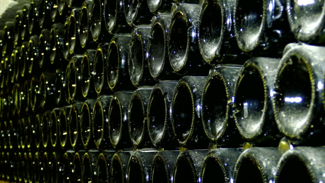 background - champagne in the cellar of the winery