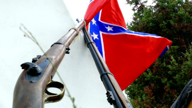 background - civil war in the usa - camp of the confederates - confederate flag stock videos & royalty-free footage