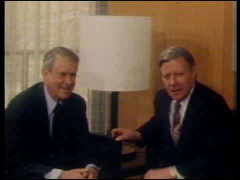 Cruise missiles deployment MUTE UPI Helmut Schmidt then West German Chancellor MS Schmidt and Cyrus Vance former US Secretary of State seated