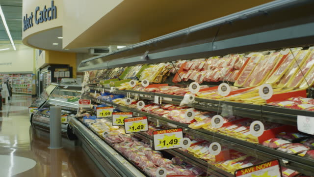 background shot of a meat department at a grocery store. - elkhorn nebraska stock videos & royalty-free footage