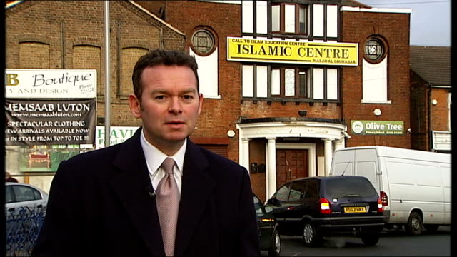 Background to British based Swedish suicide bomber Reporter to camera **Baksh interview overlaid SOT** Islamic Centre building with sign reading...