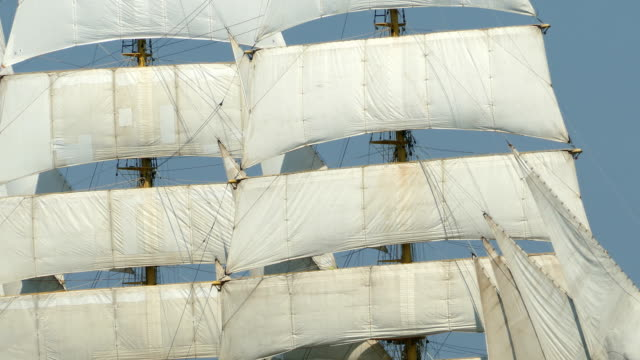 background - vintage sails and rigging - nave a vela video stock e b–roll