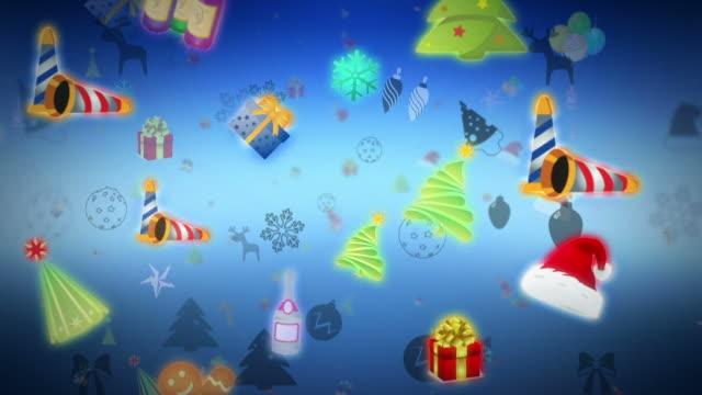 hintergrund mit weihnachtskollektion - kopfbedeckung stock-videos und b-roll-filmmaterial