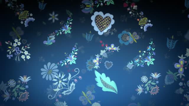 background with retro flowers. - 顕花植物点の映像素材/bロール