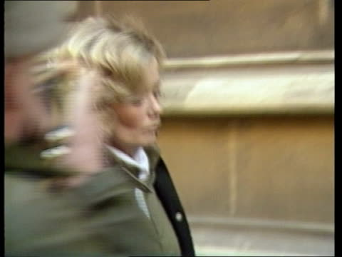 avon bristol crown court margaret backhouse lr on arrival through press into court - crown headwear stock videos and b-roll footage