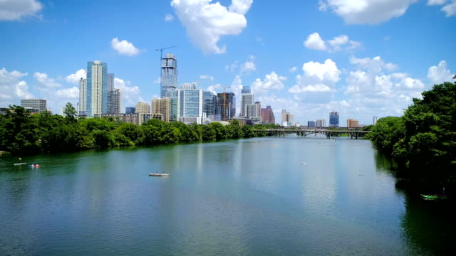 backing away from austin , texas on the lake - austin texas stock videos & royalty-free footage