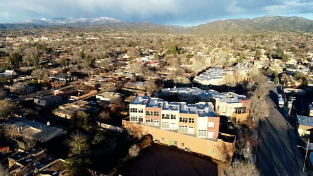 backing away fromp luxury condo real estate living in the desert mountains of santa fe , new mexico - southwest usa video stock e b–roll