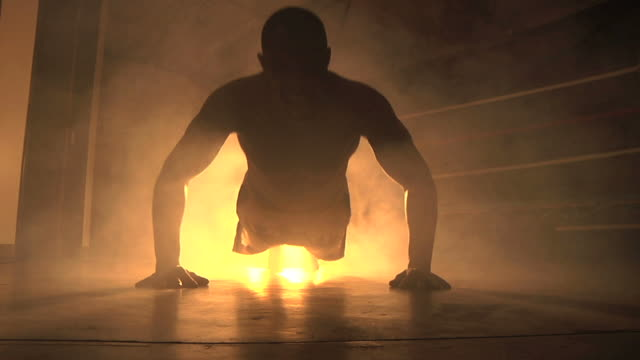 backlight pushups - boxing stock videos & royalty-free footage