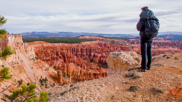 genießen den blick über bryce canyon ws-backpacker - nationalpark stock-videos und b-roll-filmmaterial