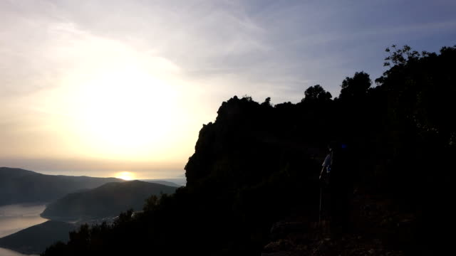 Backpacker is walking in the ancient trail in Antalya