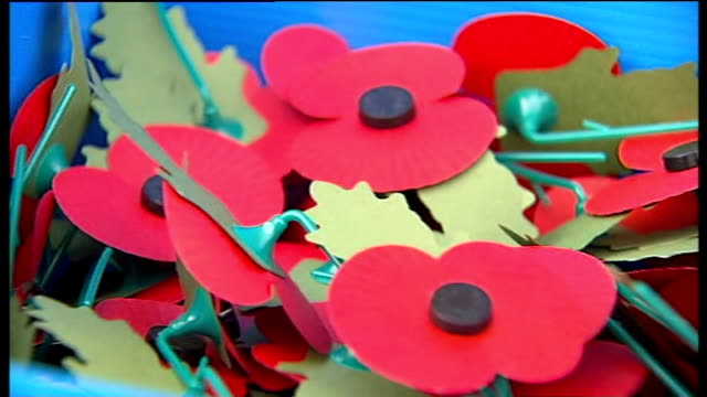 fifa backs down in row over england team wearing poppies t03111134 close shot of paper poppies in box - fifa stock videos and b-roll footage