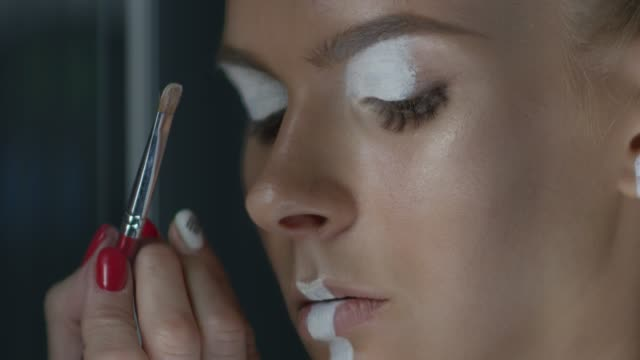 backstage of a model stage make-up. fashion video. - make up brush stock videos and b-roll footage