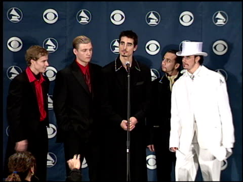 backstreet boys at the 1999 grammy awards backstage at the shrine auditorium in los angeles california on february 24 1999 - backstreet boys stock videos & royalty-free footage