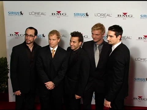 backstreet boys at the clive davis' 2005 pregrammy awards party arrivals at the beverly hilton in beverly hills california on february 12 2005 - backstreet boys stock videos & royalty-free footage