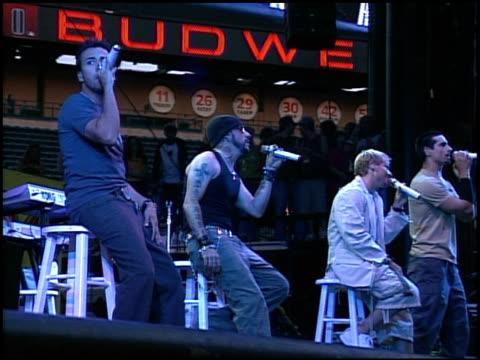 backstreet boys at the kiisfm's wango tango concert 2005 on may 14 2005 - backstreet boys stock videos & royalty-free footage