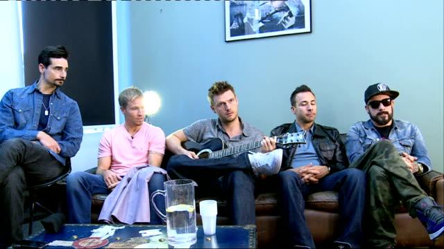 backstreet boys release new single england london backstreet boys interview sot - backstreet boys stock videos & royalty-free footage