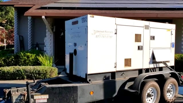 backup generator outside temple isaiah synagogue in lafayette california during a pacific gas and electric public safety power shutoff affecting much... - generator stock videos & royalty-free footage
