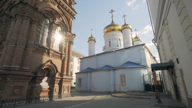 backward slow: exploring the city where buildings and churches meet - kazan, russia - kazan russia stock videos and b-roll footage