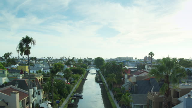Backwards Ascending Drone Shot of Venice Canal Historic District, Los Angeles