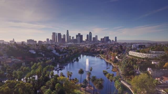 Backwards Drone Flight Across Echo Park, Los Angeles