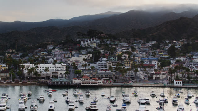 backwards drone flight away from avalon on hazy summer evening on catalina island - channel islands california stock videos & royalty-free footage