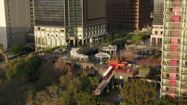 Backwards Drone Shot of Angel's Flight and California Plaza, DTLA
