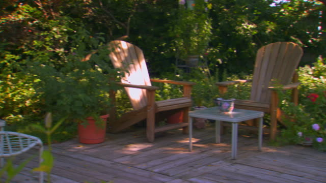 backyard deck and garden - decking stock videos & royalty-free footage