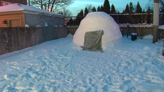 backyard igloo on january 08 2014 in chicago illinois - igloo stock videos & royalty-free footage