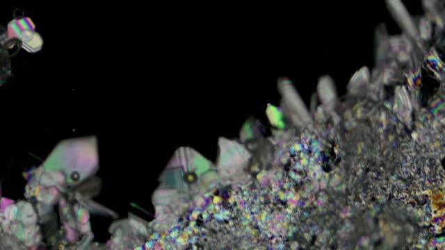 bacl2 barium chloride crystallization process under polarized light 4k timelapse video - polarizer stock videos & royalty-free footage