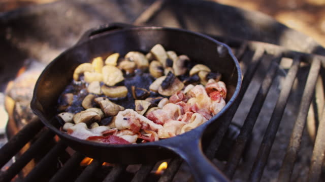 bacon and mushrooms cooking on campfire - cast iron stock videos and b-roll footage