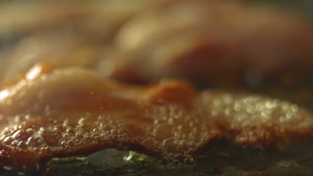 bacon cooking 4k - bacon stock videos and b-roll footage