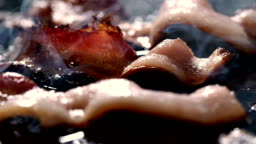 Bacon Frying Slow Motion Panning Macro