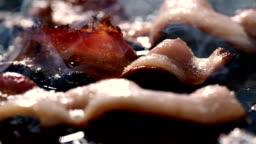 Bacon Frying Slow Motion Panning Macro