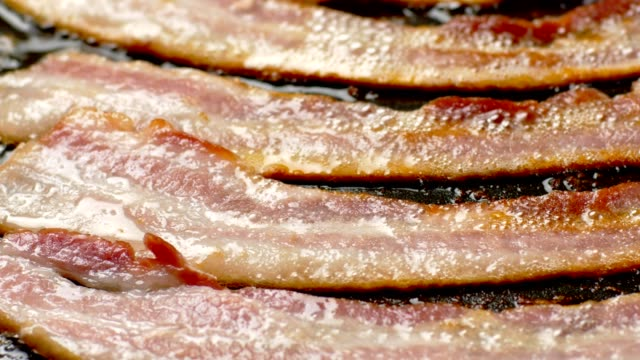 bacon on grill - bacon stock videos and b-roll footage