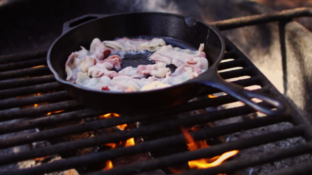 bacon sizzling over campfire - cast iron stock videos and b-roll footage