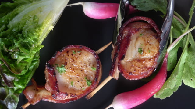 bacon wrapped scallops. - butter lettuce stock videos & royalty-free footage