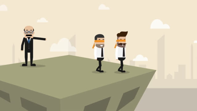 bad boss is ordering businessman walking into wrong direction on the top of building (business concept cartoon) - pressure point stock videos & royalty-free footage