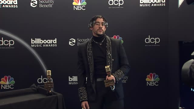 bad bunny at the 2020 billboard music awards - press room at dolby theatre on october 14, 2020 in hollywood, california. - the dolby theatre stock videos & royalty-free footage