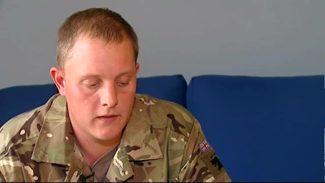 'bad lads army' contestant returns from afghanistan; england: north yorkshire: int itn reporter with sean morris lance corporal sean morris interview... - spielkandidat stock-videos und b-roll-filmmaterial