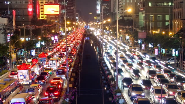 Bad Traffic Jam Of Urban Nigh City