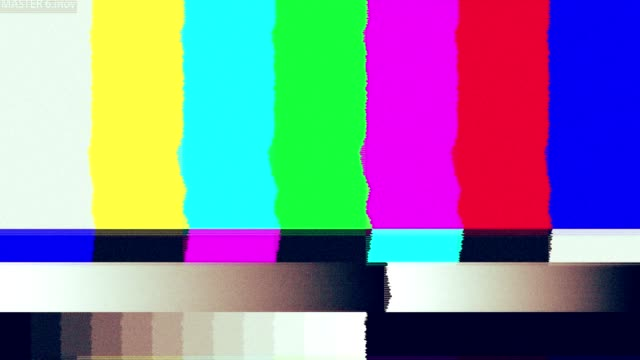 Bad TV signal on the TV screen.