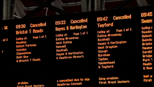 Bad weather and rail failures cause travel disruption ahead of Christmas INT Departures board showing cancelled services to Bristol Heathrow Airport...