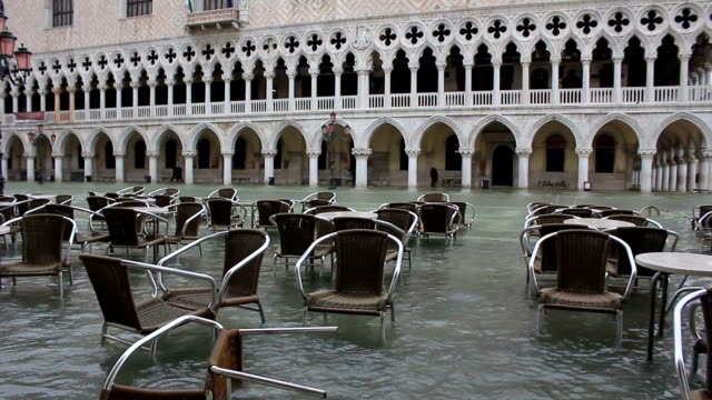 Bad weather in Venice - flooding square